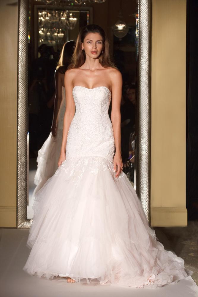7ddaa19a77b7 Oleg Cassini David's Bridal wedding dress strapless mermaid wedding gown  beading tulle hanky pink
