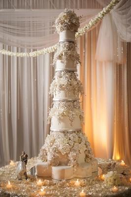 Giant wedding cake with sugar flower roses