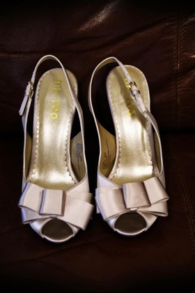 Me Too wedding shoes with peep toe bow