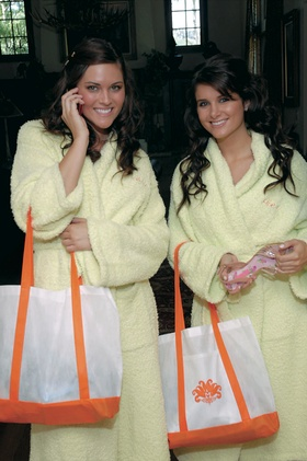 Bridesmaids in terry light yellow robes