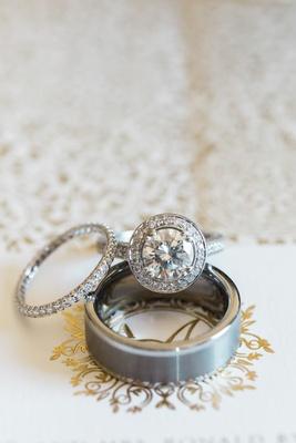 Diamond pave eternity band wedding ring women's and halo round diamond engagement ring brushed men's