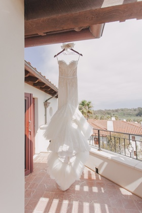 Lace mermaid bridal gown with long train