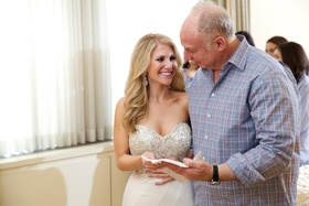 Bride in Pnina Tornai strapless wedding dress with father of bride
