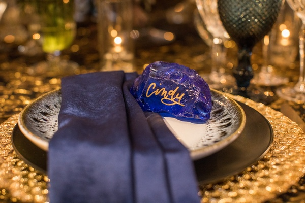 blue rock place card gold lettering, modern place card