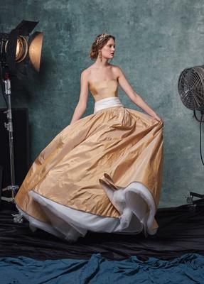 Sareh Nouri fall 2019 bridal collection wedding dress Lucille gold strapless taffeta gown