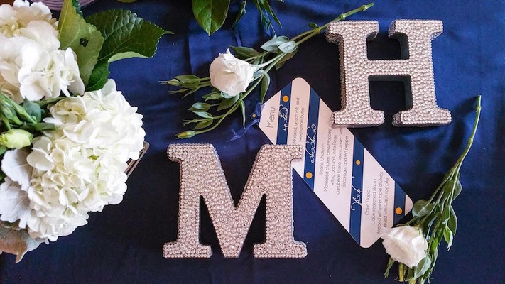 Rhinestones on large M and H letters at reception