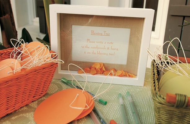 Materials on table for wedding blessing tree with framed sign
