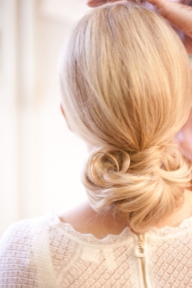 Keri Lynn Pratt wedding hair style with blonde hair