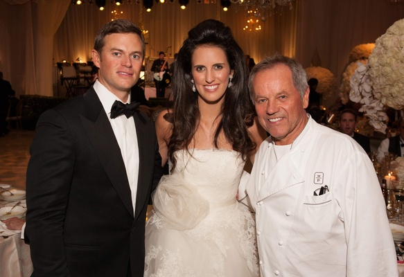 Bride and groom with celebrity chef Wolfgang Puck