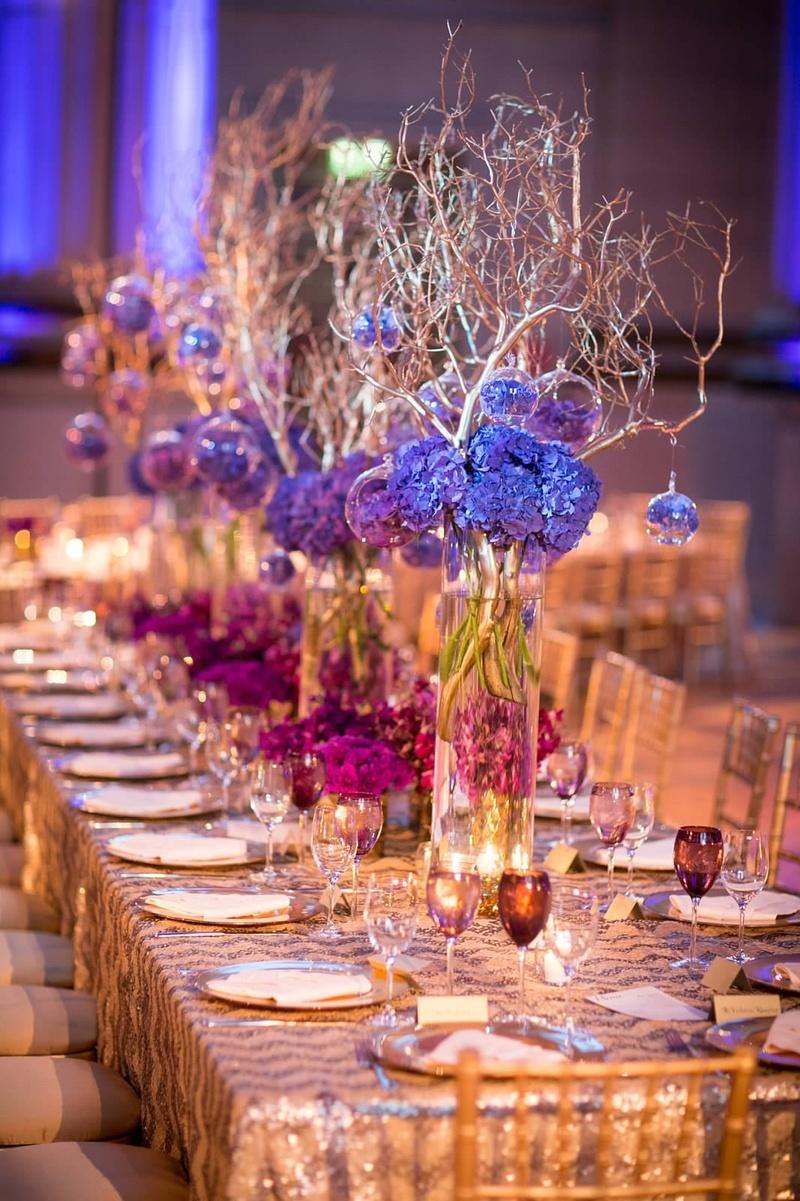 Excellent Reception Decor Photos Purple Centerpieces With Gold Beutiful Home Inspiration Xortanetmahrainfo
