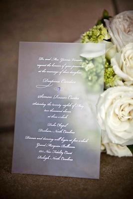 Vellum wedding invite with purple rhinestone