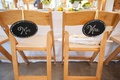 Bride and groom chalkboard wedding chair signs
