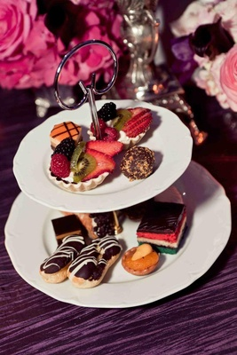 Petit four French desserts on white cake stand