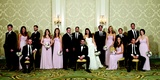 Bridesmaids in pink dresses and groomsmen
