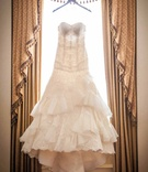 Isabelle Armstrong strapless gown with lace tiered ruffled skirt