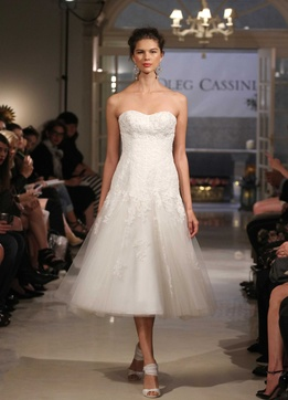 Oleg Cassini at David's Bridal tea length strapless wedding dress with lace appliques