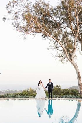 santa barbara belmond el encanto wedding portrait bride hayley paige groom tuxedo by pool