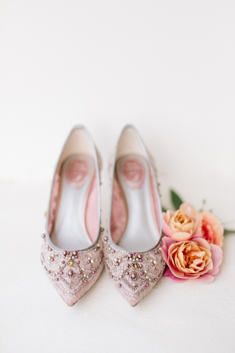 rene caovilla bridal shoes, blush shoes with pink pearl gold and silver beading