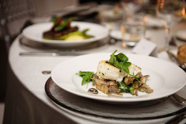 Fairmont Miramar Hotel & Bungalows halibut wedding food dinner reception option white plate charger