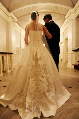 Ball gown Reem Acra wedding dress with embroidery skirt