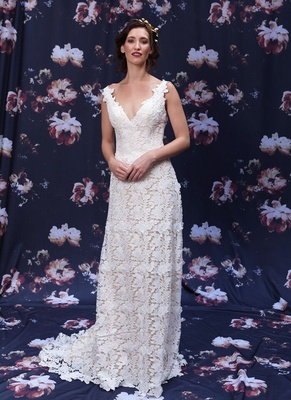 Leaf motif Guipure lace wedding dress by Ivy and Aster Fall 2016