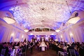 Domed ballroom with floral gobo lights on ceiling