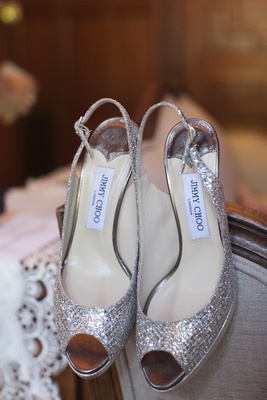 Jimmy Choo slingback peep-toe glitter bridal heels