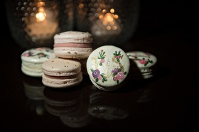 gourmet macarons with paints floral details