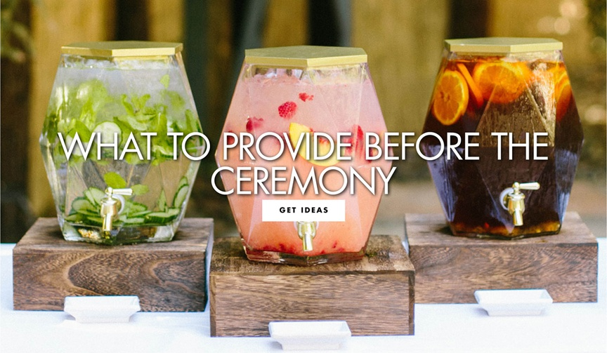 infused water, pink lemonade, iced tea, geometric beverage containers, ceremony refreshments
