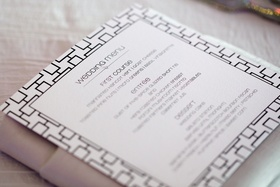Geometric pattern border on wedding menu card