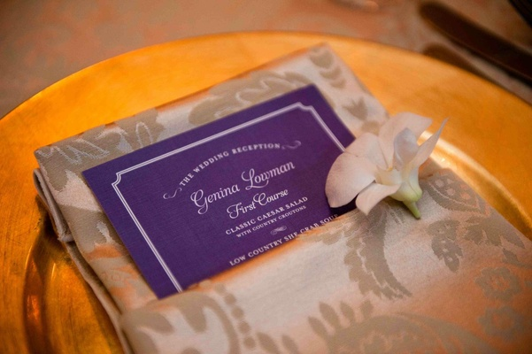 Custom menu card with wedding guest name