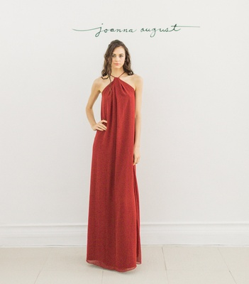 Joanna August 2016 red halter neck bridesmaid dress