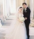 bride groom pose outside catholic church liancarlo wedding dress traditional calvin klein tuxedo