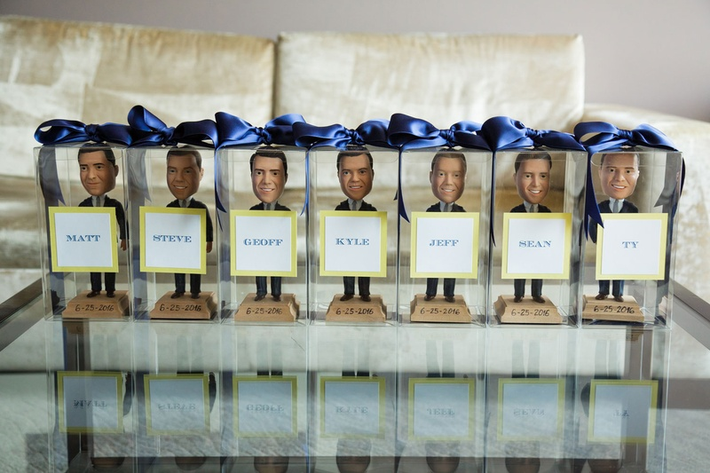 Groomsman gift custom personalized bobble heads in clear box blue ribbon