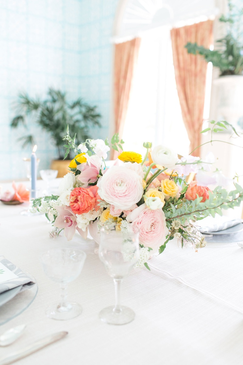Reception dcor photos pink coral yellow flower arrangement the confused millennial wedding shoot ranunculus flowers orchids greenery yellow pink orange flowers mightylinksfo