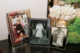 Framed photos of parents and grandparents at reception