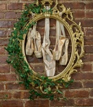 ornate gold frame with ivy framing ballet pointe shoes