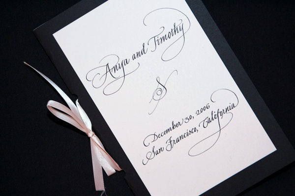 Cover of ceremony program with black calligraphy