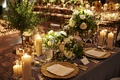 wedding reception sweetheart table half circle table candles greenery gold charger plates