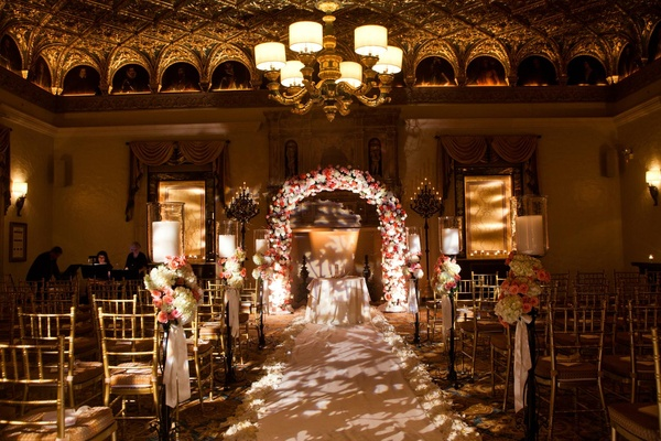 Gold ballroom at The Breakers for wedding ceremony