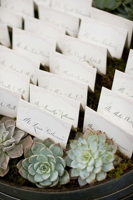 White escort cards on wine barrel in moss