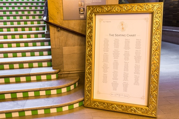 Wedding reception art institute of chicago stairs stripes wth gold frame seating chart