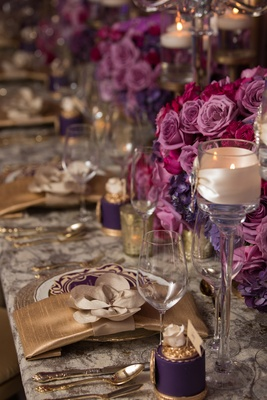 gold purple place settings pink florals menus wedding styled shoot glass votive pattern linen bold