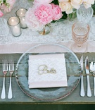 Wedding table with wood farm table, laser cut name, pink peony, ivory rose, vintage lace runner