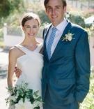couple blue white pose tie checkered oceanside california wedding suzanne neville beach wedding
