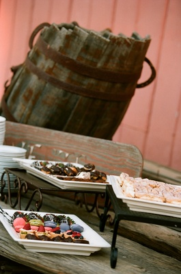 Macarons and tarts at outdoor rustic wedding