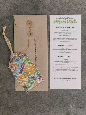 invitation with brown envelope and luggage tag with map design