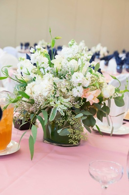 low floral centerpiece green white clear vase pink table linen california wedding simple