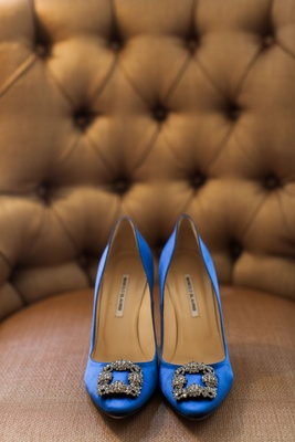Royal blue Manolos Manolo Blahnik wedding shoes silver buckle on pump toe satin