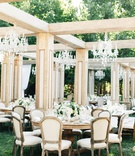 Wedding reception jillian murray dean geyer outdoor wedding wood structure faux rooms wood tables